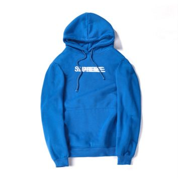 Supreme autumn and winter tide brand men and women lovers new Phantom sweater coat jacket plus flannel Blue