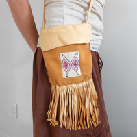 Leather Fringe Crossbody Bag, Small Purse with Handbeaded Butterfly, Hippie, Boho, Gypsy, Natural Tan, OOAK, Rendezvous, Native American