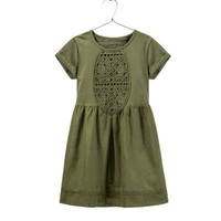 DRESS WITH RUFFLE BIB FRONT - Dresses - Girl - Kids - ZARA United States