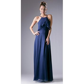 Halter Ruffled Bust Long A-Line Bridesmaids Dress Navy