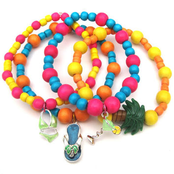 Beach Theme Stacking Stretch Bracelets with wood beads & charms Set of 4 Stack Bracelets