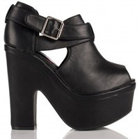 Emmet Chunky Platform Cut Out Peep Toe Shoe Boots in Black Leather - Footwear