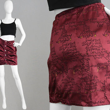 Vintage CHRISTIAN LACROIX 90s Mini Skirt Wine Satin Skirt Ruched Skirt Micro Skirt Designer Skirt Made in Italy Logo Print Hipster Medium M