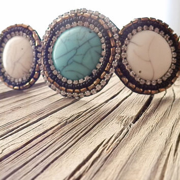 Turquoise stone beaded headband boho beaded Turquoise and Ivory seed beaded hair band elastic headband non slip stone head piece