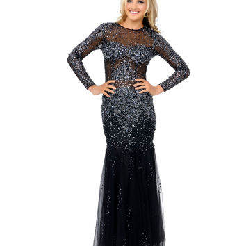 Black & Navy Sequin Illusion Long Sleeve Fitted Mermaid Gown 2015 Prom Dresses