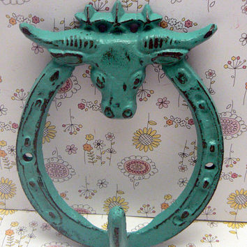 Longhorn Bull Head Cowboy Cowgirl Country Western Cast Iron Wall Hook Medium Aqua Blue Shabby Style Chic Ranch Farmhouse Barn Horse Shoe