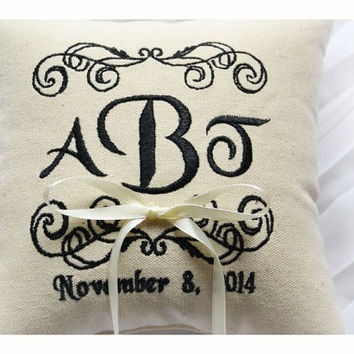 Ring bearer pillow , wedding ring pillow , ring pillow, embroidered pillow , Personalized embroidery wedding pillow (R37)