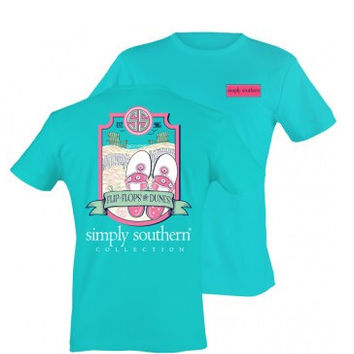 Simply Southern Flip-Flops and Dunes Tee - Teal