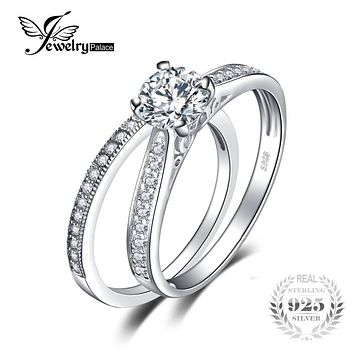 925 Sterling Silver Wedding Engagement Ring Sets Bridal Jewelry Cubic Zirconia Promise Anniversary Gifts For Her Fashion New