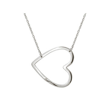 "Silver Rhodium Plated Polish Heart Sideway Silhouette & 1 Cz Necklace Pendant 16""+2"