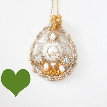 WAS 74.00 NOW 59.00 Gold Silver Crochet Tear Drop Pearl by sukran