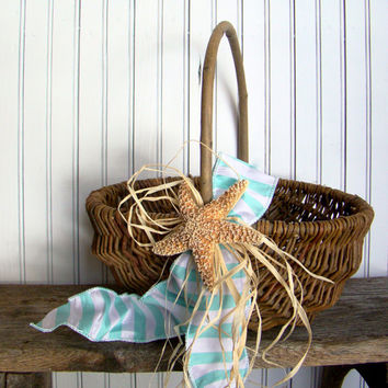 Beach Wedding Basket, Wedding Program, Wedding Favor, Flip Flop Wedding Basket, Rustic Basket, Aqua Beach Wedding, Starfish Wedding