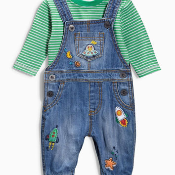 Boys T Shirt and Overall Set. Rocket Ships and Stars