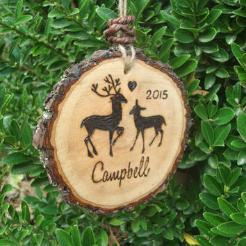Wood Christmas Ornament, Rustic Wood, Deer Christmas Ornament, Hand Crafted Wood Burned Ornament, Custom Personalized Ornament