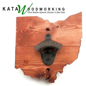 Ohio Wood Cut-out Bottle Opener - Wall Mount - Handmade!