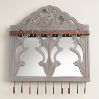 Gray Wall Jewelry Holder with Mirror and Hooks - World Market