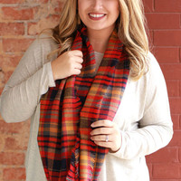 Autumn Nights Plaid Infinity Scarf ~ Red