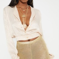 champagne Satin Button Front Crop Shirt