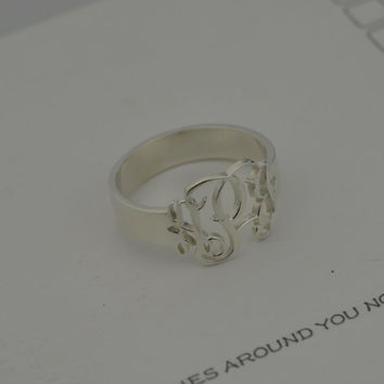 Sterling Silver Monogram Ring, Personalized Silver Monogram Ring, Personalized with Your Initials, Monogram Jewelry