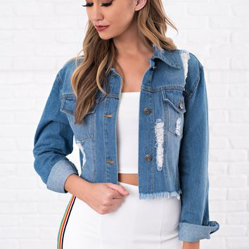 Born With Good Jeans Denim Jacket (Medium Wash)