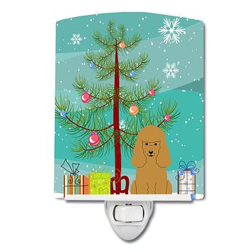Merry Christmas Tree Poodle Tan Ceramic Night Light BB4194CNL
