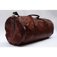Handmade leather duffel or gym bag round