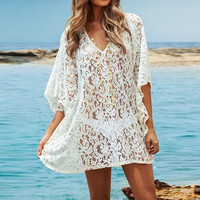 Oversize Loose  White Crochet Summer Lace Beach Dress, Bikinis Swimsuit Cover Up, Swimwear Bathing Suit Covers Up Sundress