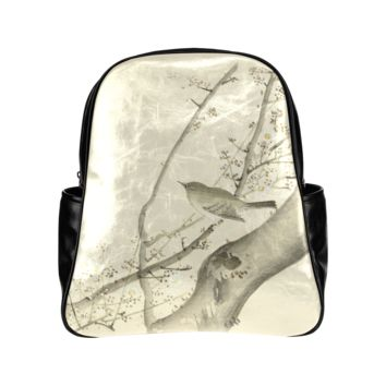 Oriental Bird White Blossom Japanese Woodcut Back Pack Multi-Pockets Backpack