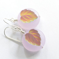 Frosted green leaf earrings, Germany frosted glass. Purple glass disk. Sterling silver.