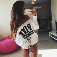 "White ""Pink"" Letter Print Long Sleeve Sweater"