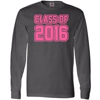 Inktastic Class of 2016 pink Long Sleeve T-Shirts Medium Charcoal Grey