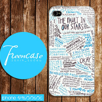 fault in our stars quotes case for iphone 4 case,iphone 4s case, iphone 5 case, iphone 5s case, iphone 5c case