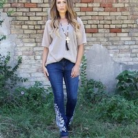 Lucky and Blessed's Boot-cut Jeans lace look stitching