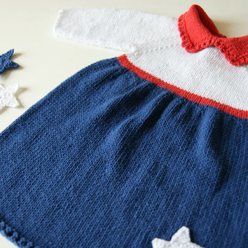 Patriotic baby dress, knit baby dress, 4th of July baby outfit