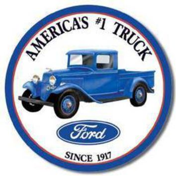 Tin Sign : Ford Trucks - Round