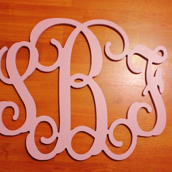 "Wall Monogram - Wall Decor - Personalized Letters - 12"" x 16"" Painted Wooden Monogram Wall Decor - Wedding Gift, Door Wreath, Wall Monograms"