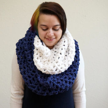 oversized scarf, two tone cowl, nautical scarf, crochet hood, chunky cowl, hood scarf / THE GALA / Navy & Snow / Ready to Ship!