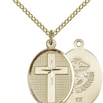 14K Gold Filled Cross Marines Military Soldier Catholic Medal Necklace 617759989588