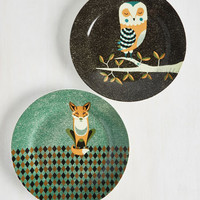 Wild the Gettin's Good Plate Set in Owl & Fox - Large | Mod Retro Vintage Kitchen | ModCloth.com