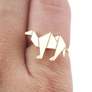 Origami Camel Silhouette Shaped Adjustable Ring in Gold