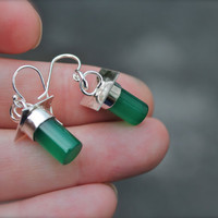 Green Onyx Earrings. Cylinder. Sterling silver. by KittyStoykovich