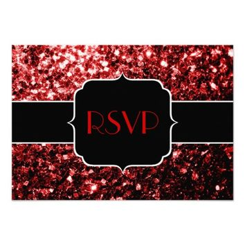 SOLD Beautiful Red glitter sparkles Sweet 16 RSVP invitations by PLdesign