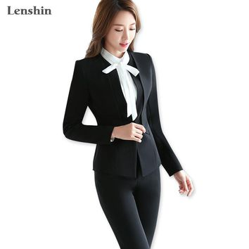 Lenshin Two Piece Sets Black Formal Pant Suit Office Lady Style Uniform Design Women Business Suits Blazer For Work Autumn Wear