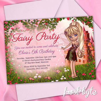 Fairy Birthday Invitation - girl birthday invite design - digital file customised with your details - enchanted garden fairytale fairies