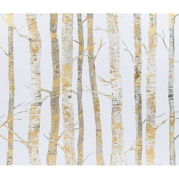 "24"" x 26"" Cream & Gold Birch Trees Canvas Art 