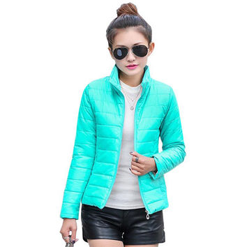 hot sale 2017 new women's jacket to keep warm in winter padded silk, ladies fashion casual Slim padded winter jacket