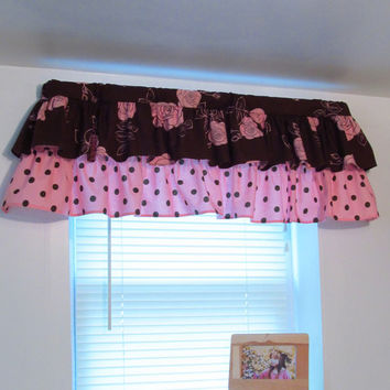 Window Treatments Ruffled Valance Brown and Pink Curtain