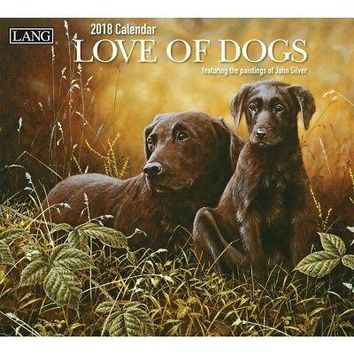 """LANG - 2018 Wall Calendar - """"Love Of Dogs"""", Artwork by John Silver - 12 Month -"""