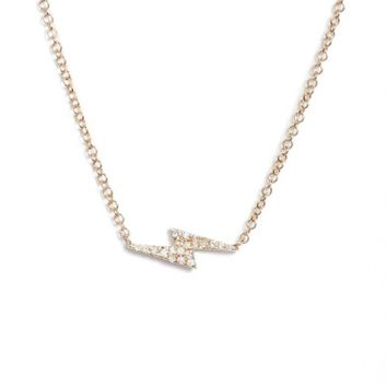 EF COLLECTION Diamond Lightning Bolt Pendant Necklace | Nordstrom