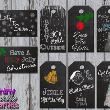 CHRISTMAS GIFT TAGS - Chalkboard Christmas Gift Tags - Holiday Gift Tags - Christmas - Christmas Gift Labels - Christmas Instant Download